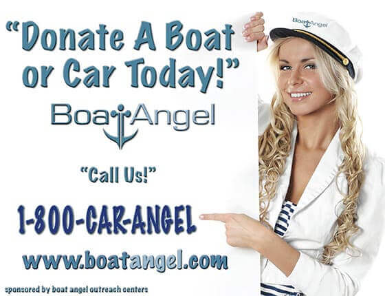 Boat Angel Spokesmodel Pointing to Sign with Boat Angel Phone Number and Plea to Donate.