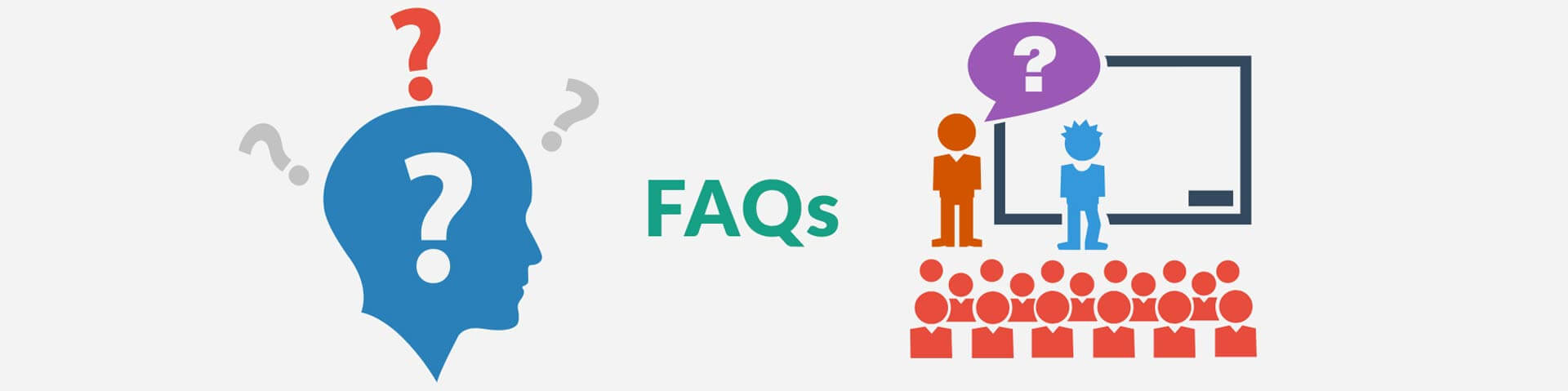 Head icon with question marks; graphic representation of learning in school; the word FAQs between both images.
