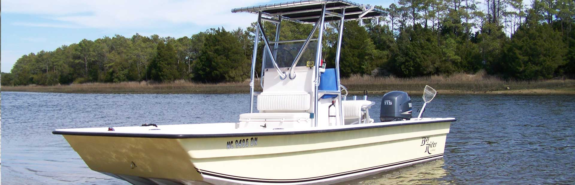 Center Console Fishing Boat on a lake.